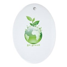 Green World Oval Ornament
