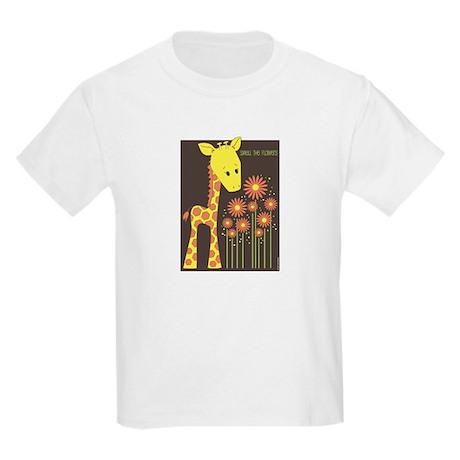 Giraffe - Smell the Flowers<br> Kids T-Shirt
