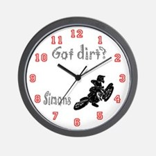 Simon's Got dirt? motocross Wall Clock