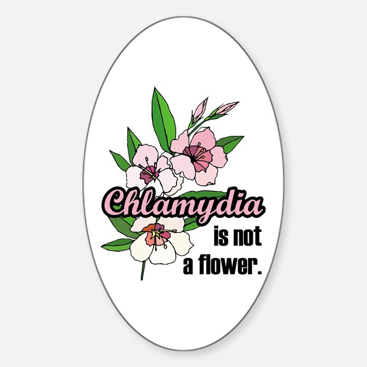Chlamydia Flower Oval Decal