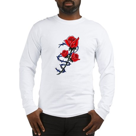 Barbed wire rose tattoo front long sleeve t shirt for Barb wire tattoo sleeve
