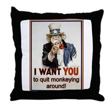 Monkey Uncle Sam Throw Pillow