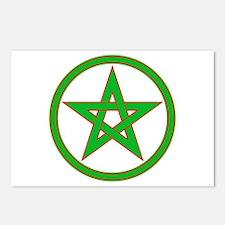 Red & Green Pentagram Postcards (Package of 8)