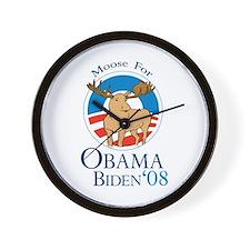 Moose for Obama Biden Wall Clock