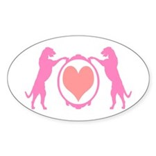 Pink Tall Wolfhounds & Heart Oval Decal