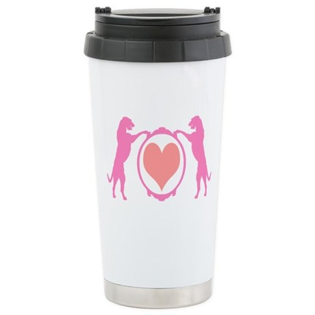 Pink Tall Wolfhounds & Heart Stainless Steel Trave