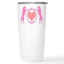 Pink Tall Wolfhounds & Heart Travel Mug