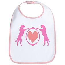 Pink Tall Wolfhounds & Heart Bib