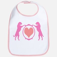 Pink Tall Wolfhounds & Heart Bib