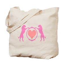 Pink Tall Wolfhounds & Heart Tote Bag