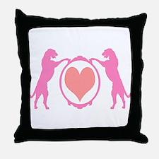 Pink Tall Wolfhounds & Heart Throw Pillow