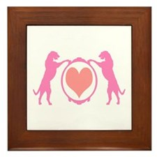 Pink Tall Wolfhounds & Heart Framed Tile