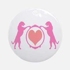 Pink Tall Wolfhounds & Heart Ornament (Round)