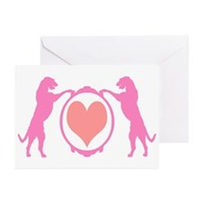 Pink Tall Wolfhounds & Heart Greeting Cards (Pk of