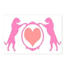 Pink Tall Wolfhounds & Heart Postcards (Package of