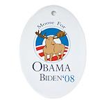 Moose for Obama Biden Christmas Oval Ornament