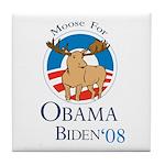 Moose for Obama Biden Tile Coaster