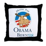 Moose for Obama Biden Throw Pillow