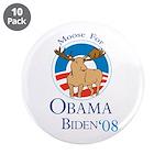 """Moose for Obama Biden 3.5"""" Button (10 pack)"""