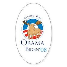 Moose for Obama Biden Oval Decal