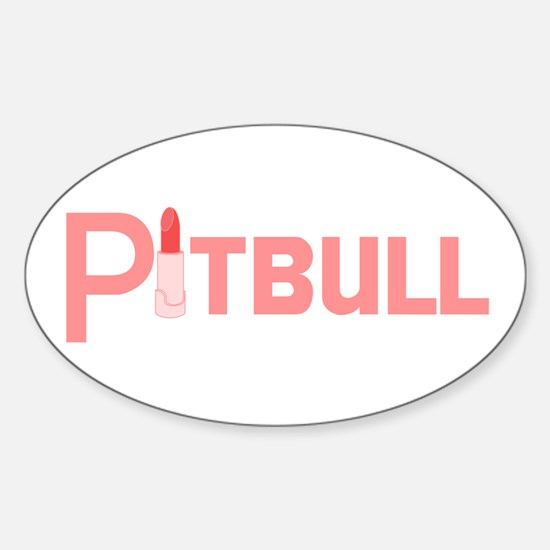 Pink Palin Pitbull with Lipstick Oval Decal