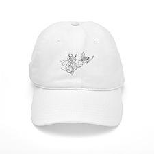 Two Fairies Line Illustration Baseball Cap