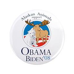 "Alaskan Animals for Obama Bid 3.5"" Button"