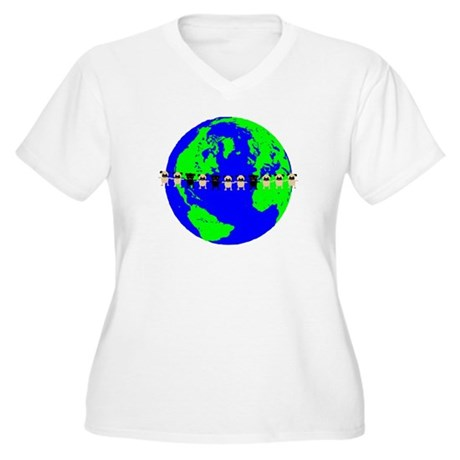 Peace On Earth Women's Plus Size V-Neck T-Shirt