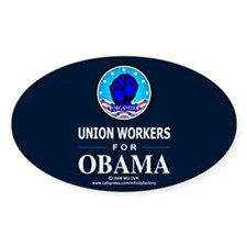Union Workers Obama Oval Decal