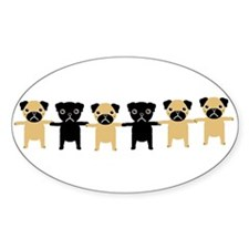 StringOPugs Oval Decal