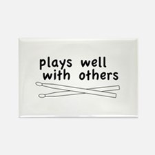 Plays Well (Drums) Rectangle Magnet (10 pack)