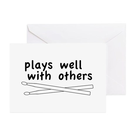 Plays Well (Drums) Greeting Cards (Pk of 10)