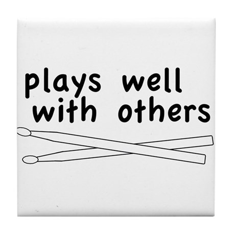 Plays Well (Drums) Tile Coaster