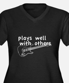 Plays Well (Guitar) Women's Plus Size V-Neck Dark