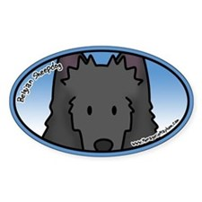 Anime Belgian Sheepdog Oval Decal