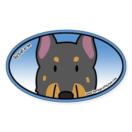 Anime Beauceron Oval Sticker (Cartoon)