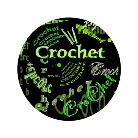 "Crochet Green 3.5"" Button"