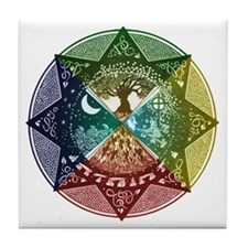 Elemental Mandala Tile Coaster