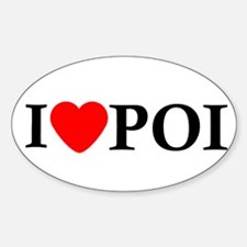 I Love Poi Oval Decal
