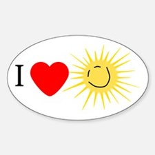 I Love Happy Sunshine Oval Decal