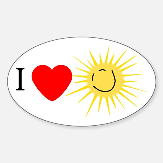 I Love Happy Sunshine Oval Decal