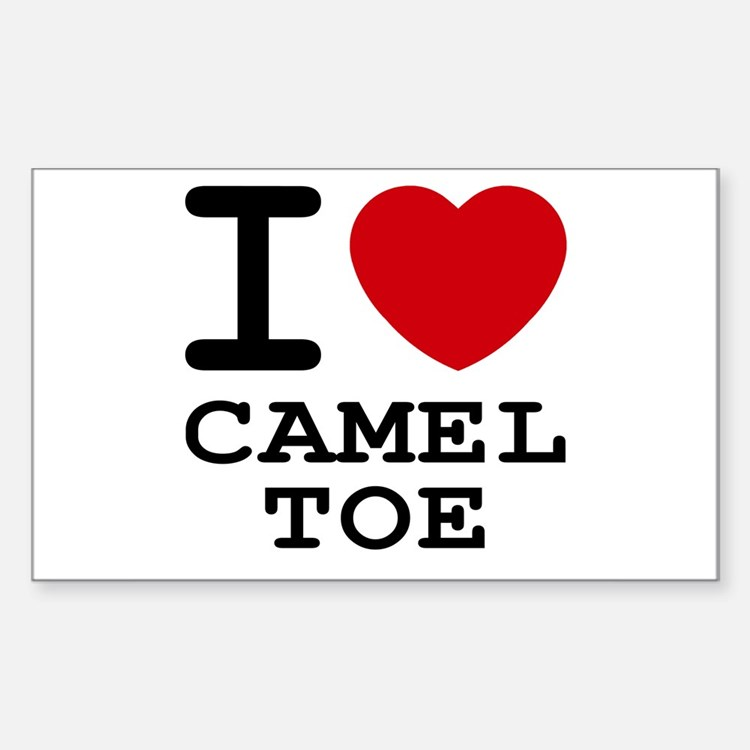 I heart camel toe Rectangle Decal