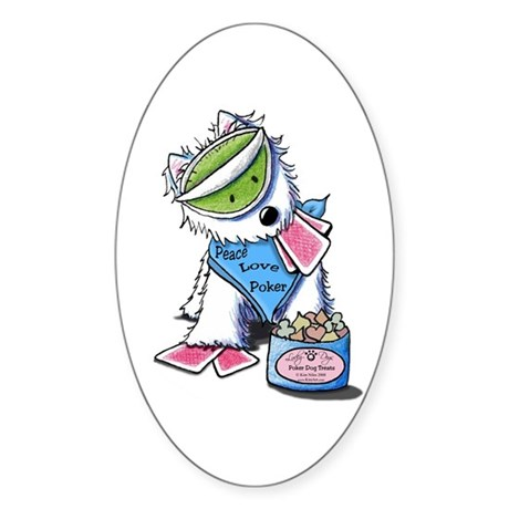 Poker Pup Westie Oval Sticker (10 pk)