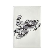 Camouflage Grey Snowmobiler Rectangle Magnet