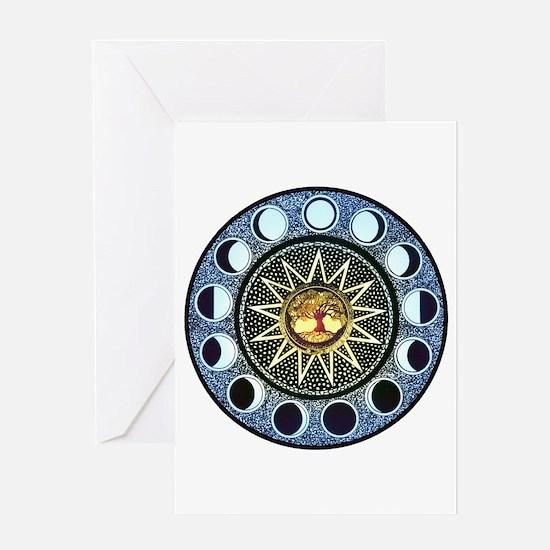 Moon Phases Mandala Greeting Card
