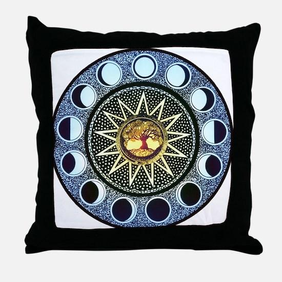 Moon Phases Mandala Throw Pillow
