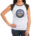 Lilies #6/Pomeranian #4 Women's Cap Sleeve T-Shirt