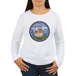Lilies #6/Pomeranian #4 Women's Long Sleeve T-Shir