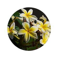 """Aloha Flowers 3.5"""" Button"""