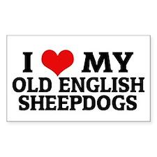 I Love My Old English Sheepdo Sticker (Rectangular